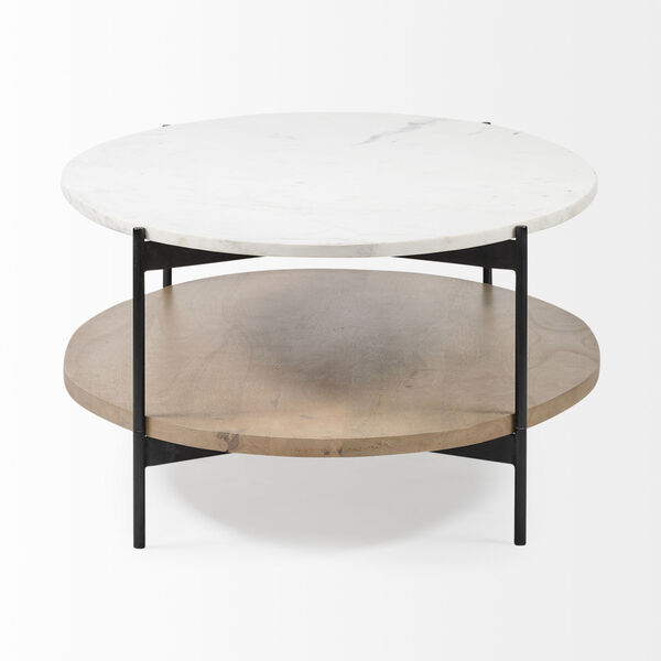 Larkin I Black and White Oval Marble Top Coffee Table, image 4