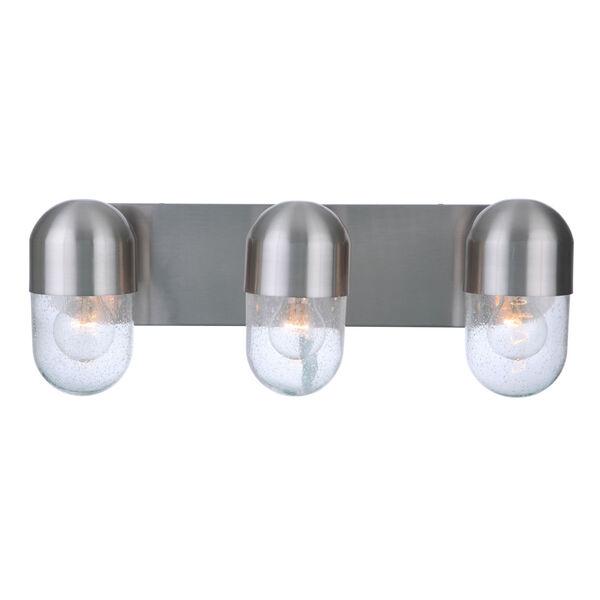 Pill Brushed Polished Nickel Three-Light Vanity Light, image 2