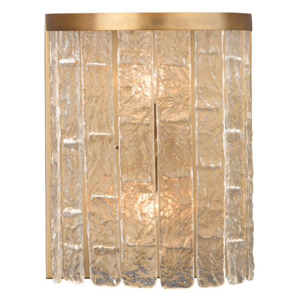 Waterfall Clear Glass with Antique Brass Two-Light Wall Sconce, image 1
