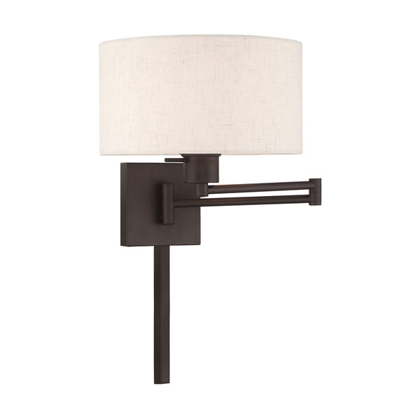 Swing Arm Wall Lamps Bronze 11-Inch One-Light Swing Arm Wall Lamp with Hand Crafted Oatmeal Hardback Shade, image 1