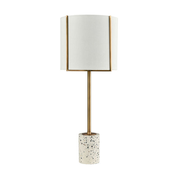 Trussed White Terazzo with Gold One-Light Table Lamp, image 2