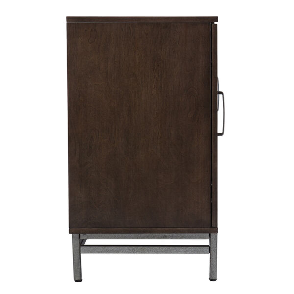 Dibbonly Brown and matte silver Electric Fireplace with Media Storage, image 5