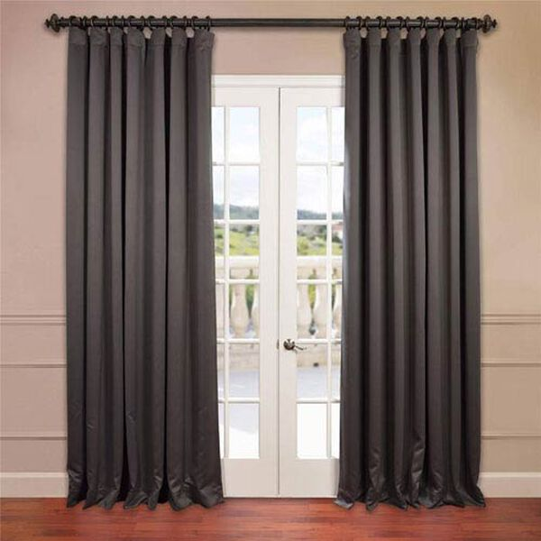 Charcoal 96 x 100-Inch Double Wide Blackout Curtain Single Panel, image 1