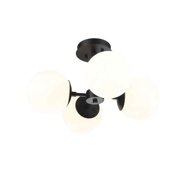 Midnetic Matte Black Four-Light Semi Flush Mount, image 4