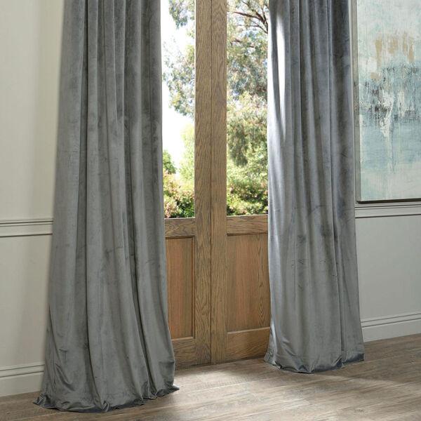 Natural Grey Blackout Velvet Pole Pocket Single Panel Curtain, 50 X 120, image 6