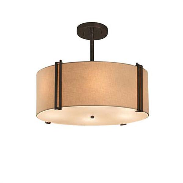 Textile - Reveal Polished Chrome Three-Light LED Drum Pendant with Cream Shade, image 1