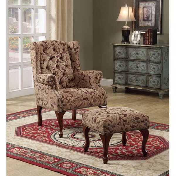 Tan Traditional Tufted Wing Back Chair and Ottoman, image 1