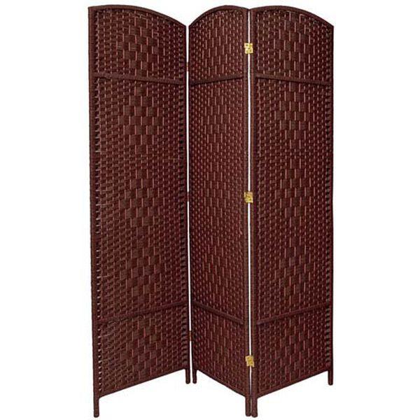 Six Ft. Tall Diamond Weave Fiber Room Divider Dark Red Three Panel, Width - 58.5 Inches, image 1