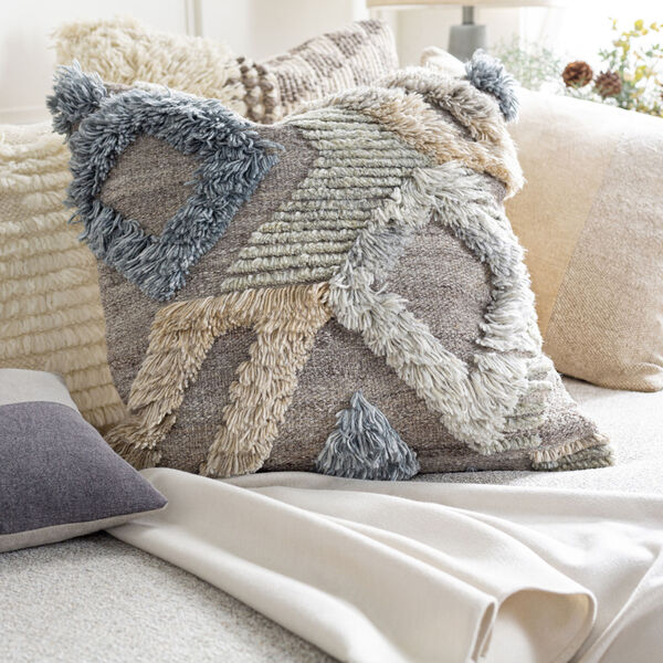 Baracoa Beige, Medium Gray and Tan 18-Inch Pillow, image 2