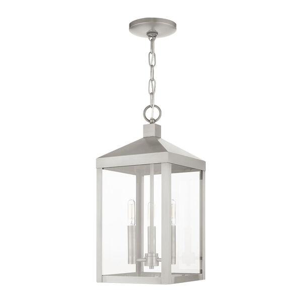 Nyack Brushed Nickel Three-Light Outdoor Pendant Lantern, image 1