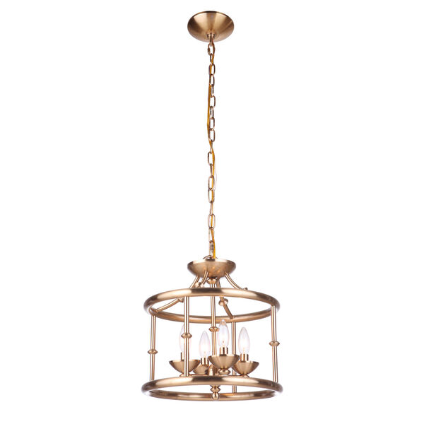 Marlowe Satin Brass Four-Light Convertible Semi Flush, image 2