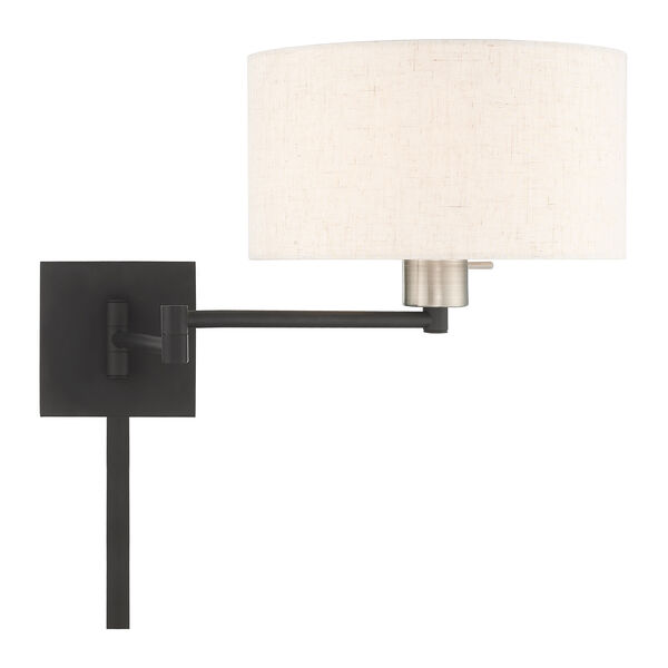 Swing Arm Wall Lamps Black 11-Inch One-Light Swing Arm Wall Lamp with Hand Crafted Oatmeal Hardback Shade, image 5