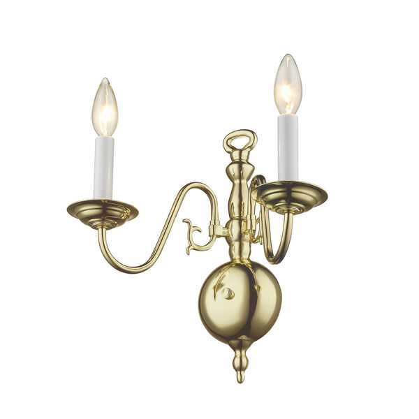 Williamsburgh Polished Brass Two-Light Wall Sconce, image 6