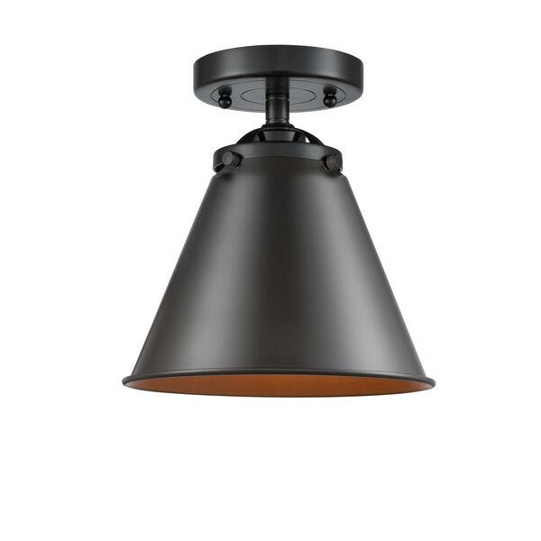Nouveau Oil Rubbed Bronze Eight-Inch One-Light Semi-Flush Mount, image 1
