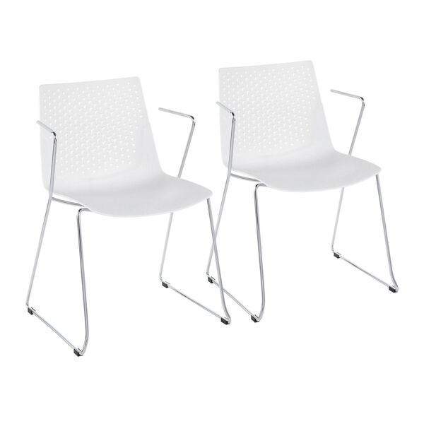 Matcha Chrome and White Dining Chair, Set of 2, image 1