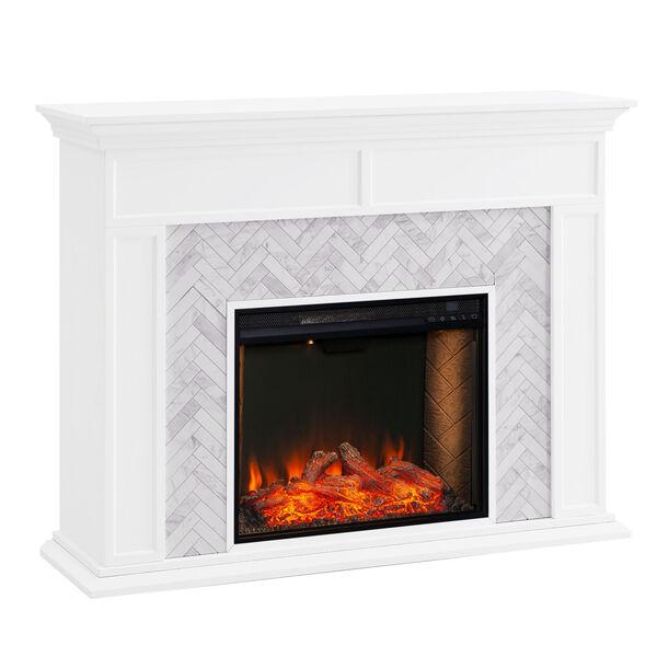 Torlington White Tiled Marble Electric Fireplace Mantel with Alexa Firebox, image 2