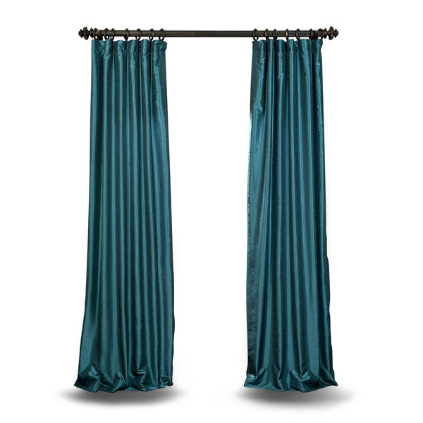Teal 84 x 50 In. Faux Dupioni Silk Single Panel Curtain, image 1