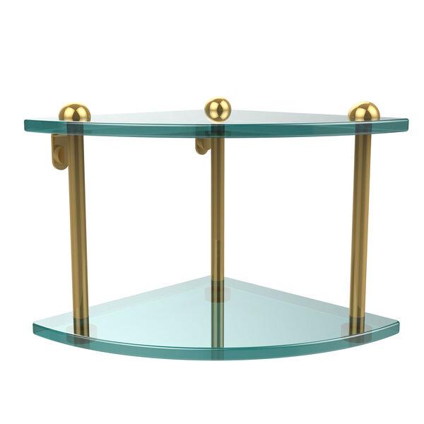 Two Tier Corner Glass Shelf, Polished Brass, image 1