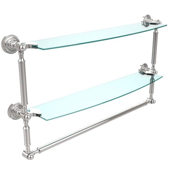 Polished Chrome Double Shelf with Towel Bar, image 1
