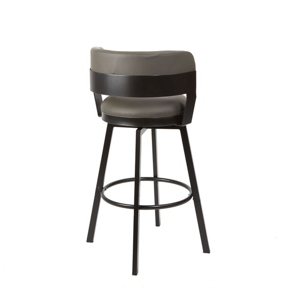 William Charcoal and Dark Rubbed Bronze Upholstered Swivel Barstool, image 3