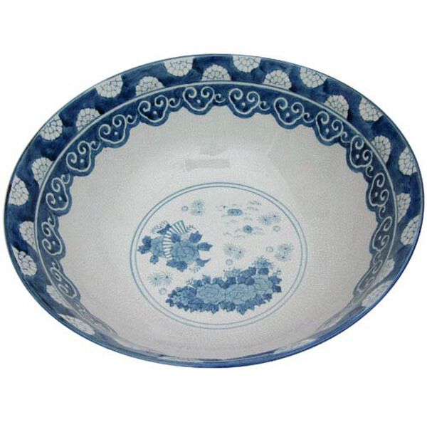 14 Inch Ladies Blue and White Porcelain Bowl, Width - 14 Inches, image 2