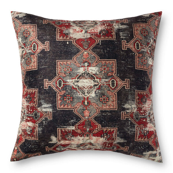 Charcoal and Red 36-Inch x 36-Inch Floor Pillow, image 1