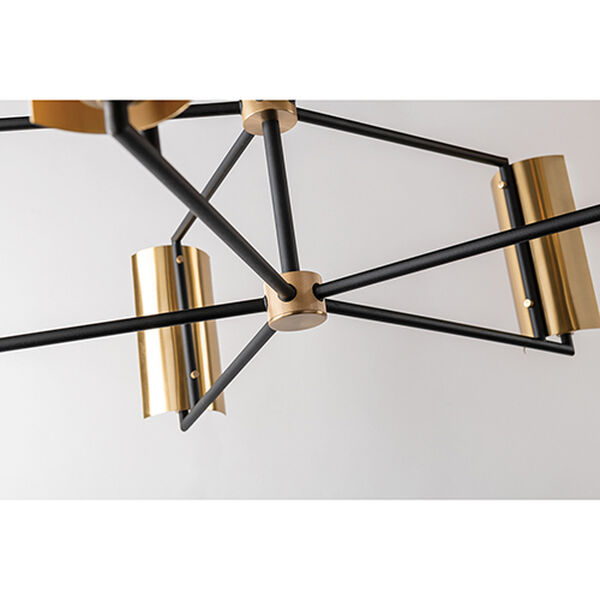 Cleo Black and Brass Five-Light Chandelier, image 4