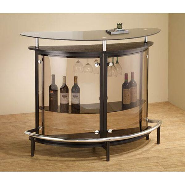 Black Contemporary Bar Unit with Smoked Acrylic Front, image 2