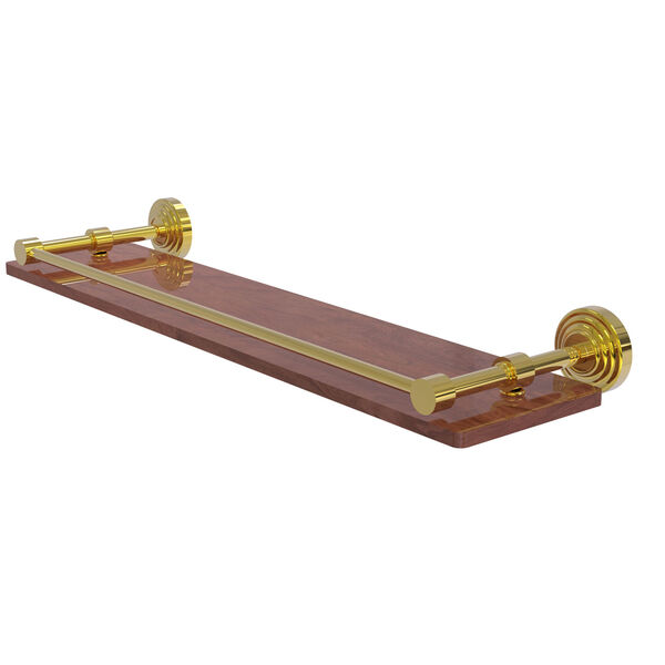 Waverly Place Polished Brass 22-Inch Solid IPE Ironwood Shelf with Gallery Rail, image 1