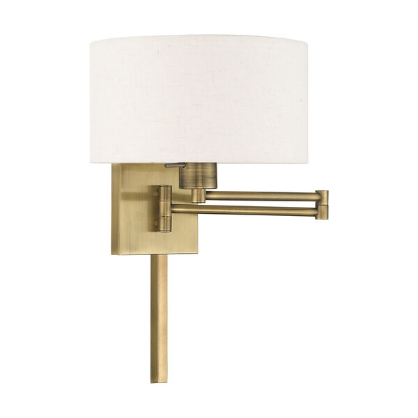 Swing Arm Wall Lamps Antique Brass 11-Inch One-Light Swing Arm Wall Lamp with Hand Crafted Oatmeal Hardback Shade, image 2