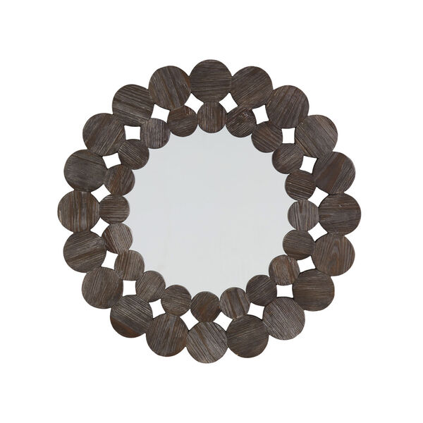 Katherine Dark Brown Reclamied Wood 32-Inch Round Wall Mirror, image 4