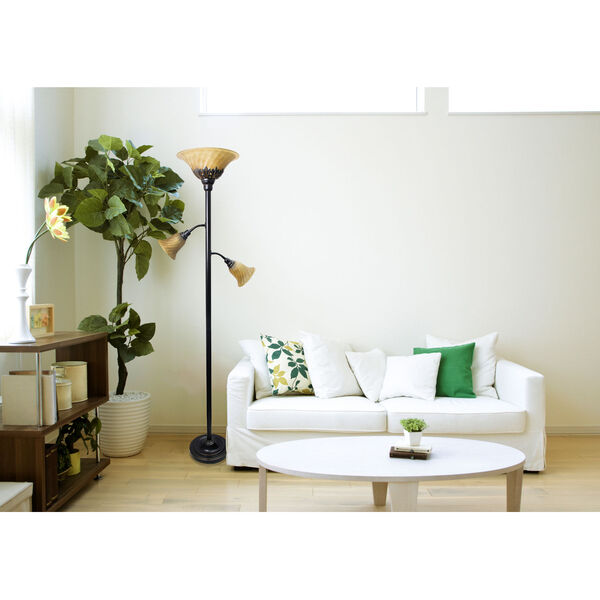 Quince Restoration Bronze Three-Light Floor Lamp with Amber Shade, image 3