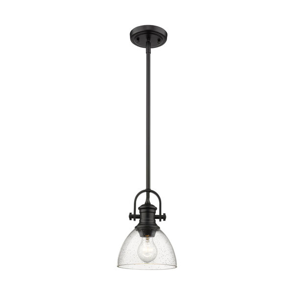 Hines Black 7-Inch One-Light Mini Pendant with Seeded Glass, image 2