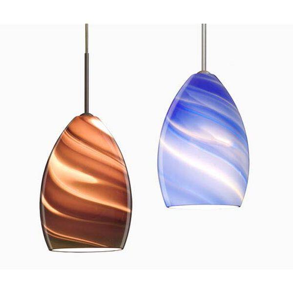 Euka Satin Nickel One-Light LED Mini Pendant with Blue Twist Glass, image 4