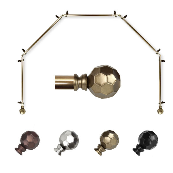 Christiano Antique Brass Five-Sided Bay Window Curtain Rod, image 1