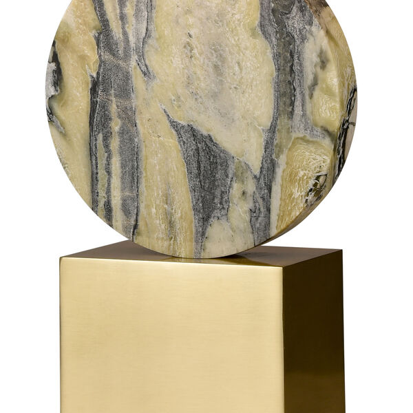 Carrin Natural Stone and Honey Brass Two-Light Table Lamp, image 4