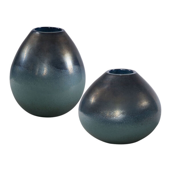 Rian Bronze and Aqua Vase, Set of 2, image 1