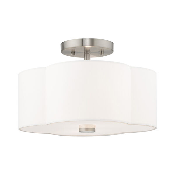 Chelsea Brushed Nickel 13-Inch Two-Light Ceiling Mount with Hand Crafted Off-White Hardback Shade, image 1