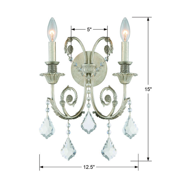 Regis Olde Silver Two-Light Wall Sconce with Hand Polished Crystal, image 5