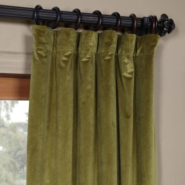 Green 96 x 50 In. Plush Velvet Curtain Single Panel, image 2