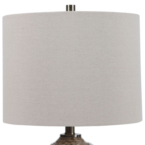 Lagos Brown and Light Brushed Brass One-Light Table Lamp with Round Drum Hardback Shade, image 4