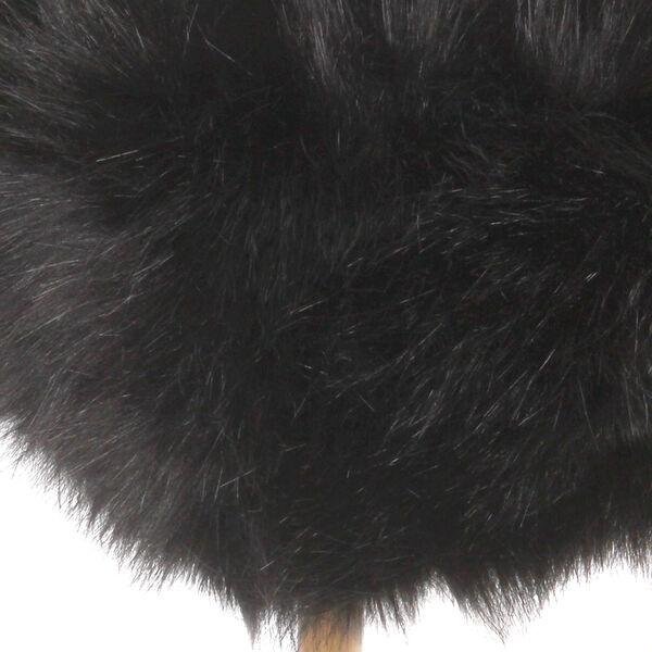 Faux Fur Square Ottoman - Black, image 4