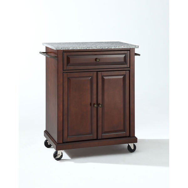 Solid Granite Top Portable Kitchen Cart/Island in Vintage Mahogany Finish, image 1