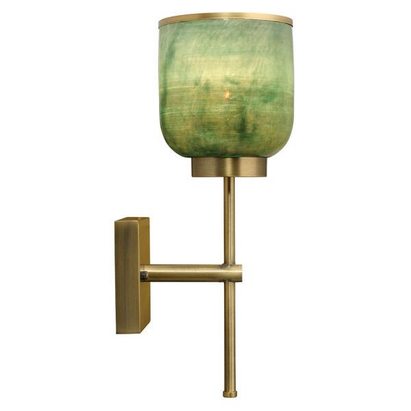 Vapor Antique Brass and Aqua Metallic Glass One-Light Wall Sconce, image 4