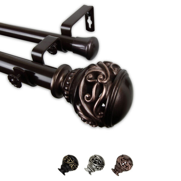 Isabella Bronze 240-Inch Double Curtain Rod, image 1