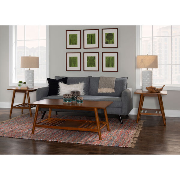 Emma Walnut Coffee Table and End Table, Three Piece, image 3