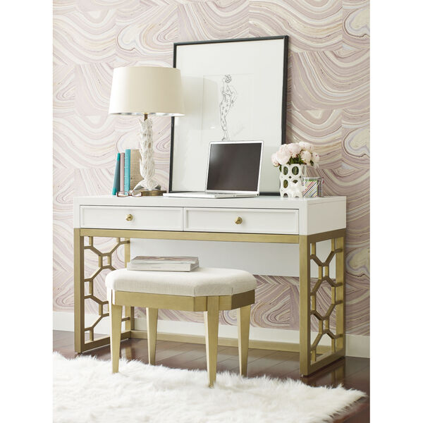 Chelsea by Rachael Ray White with Gold Accents Kids Stool, image 2