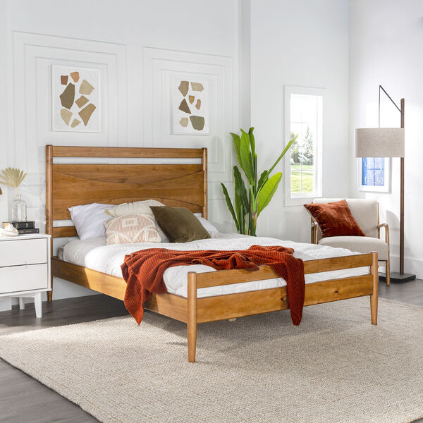 Atticus Caramel Beveled Headboard Solid Wood Queen Bed, image 1