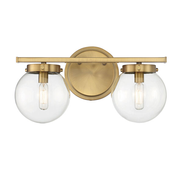 Cora Natural Brass Two-Light Bath Vanity with Clear Glass, image 1