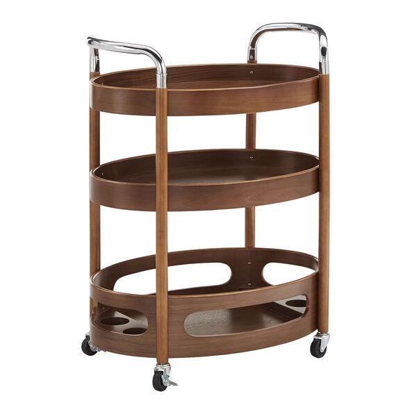 Andrea Walnut Oval Bar Cart, image 1